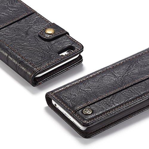 JIALUN-Caja del teléfono o cubierta Para la caja del iPhone 6, con efectivo, ranura para tarjeta y hebilla magnética Abra la caja del teléfono de cuero de lujo Protege tu teléfono ( Color : Red ) Black