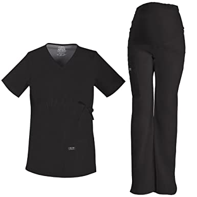 6625335fdd746 Cherokee Core Stretch Workwear Women's Maternity Scrub Top & Scrub Pant Set  X-Small Black