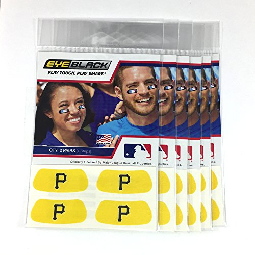 (24 Strips) Eye Black - Pittsburgh Pirates Gold MLB Eye Black Anti Glare Strips, Great for Fans & Athletes on Game Day]()