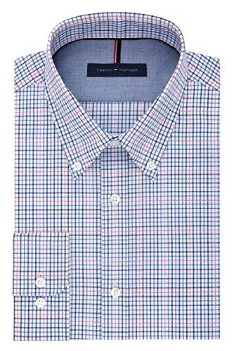 Tommy Hilfiger Men's Non Iron Slim Fit Mutli-Check Buttondown Collar Dress Shirt, Candy, 17
