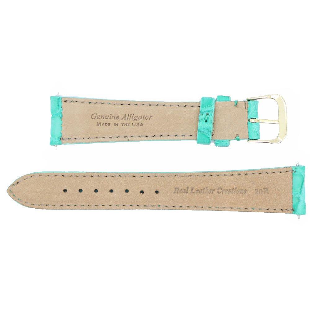 Correa de repuesto para reloj de 20 mm, color turquesa mate, original de cocodrilo, fabricada en EE. UU. WS258: Amazon.es: Relojes