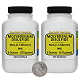 Molybdenum Disulfide [MoS2] 99% AR Grade Powder 12 Oz in Two Space-Saver Bottles USA