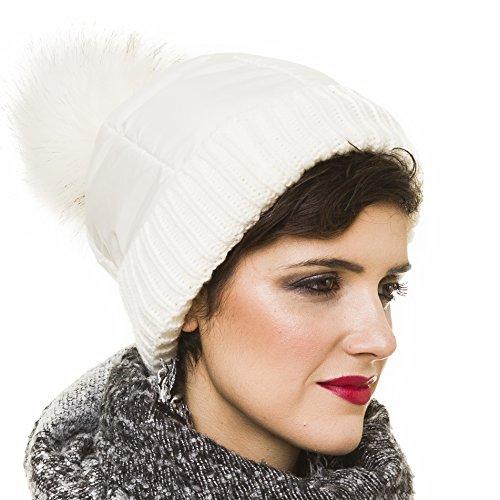 MELIFLUOS DESIGNED IN SPAIN Beanie for Women with Pom Pom White Skull Skully Cap Hat Toboggan Fashion Knit Spring Winter (White)