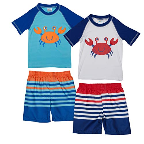 Sweet & Soft Baby Boys 4-Piece Rash Guard and Trunk Swimsuit Set (Infant/Toddler) (Crab, Toddler (4T))'