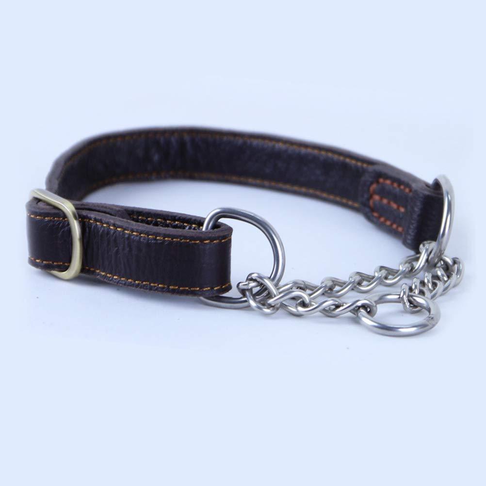 POPETPOP Collar para Perro de Cuero Ajustable con Cadena de Acero Inoxidable para Entrenamiento Adiestramiento de Mascotas Grande y Medianos 35-48 cm