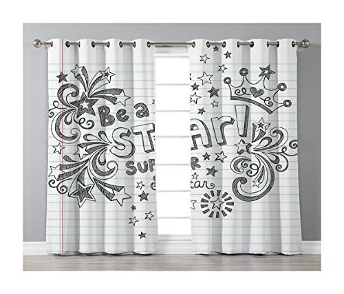 (Goods247 Blackout Curtains,Grommets Panels Printed Curtains Living Room (Set of 2 Panels,52 72 Inch Length),Teen Room Decor)