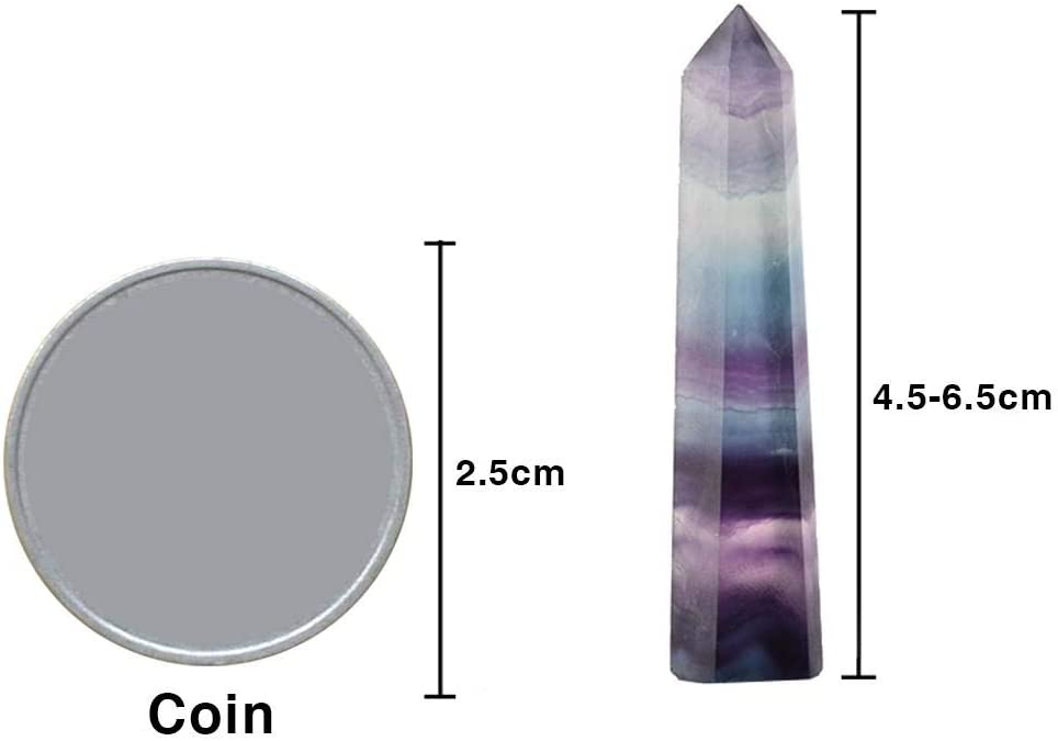 Runningfish Quartz Crystal Stone Point Healing Hexagonal Wand Treatment Stone 100 Natural Fluorite Crystal Colorful Striped Fluorite 4.5-6.5CM