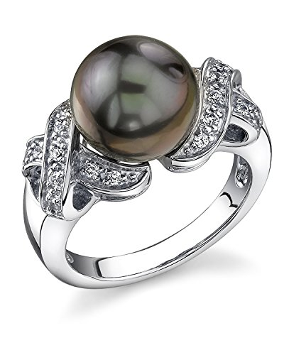 (THE PEARL SOURCE 11-12mm Genuine Black Tahitian South Sea Cultured Pearl Lisa Ring for Women)