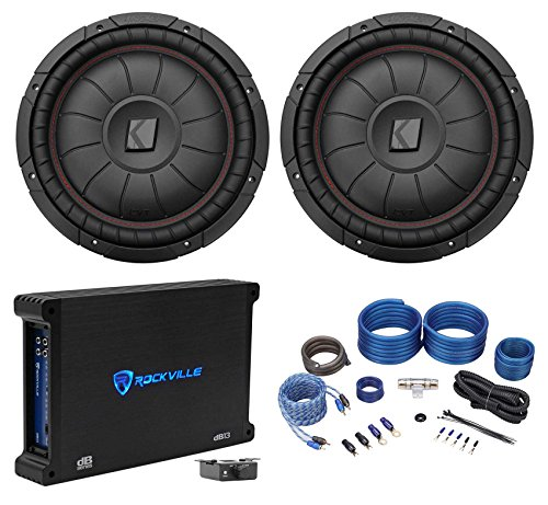 2 Kicker 43CVT124 COMPVT 12 1600w Shallow Car Subwoofers+Mono Amplifier+Amp Kit (Amplifier 1600 Watt Mono)