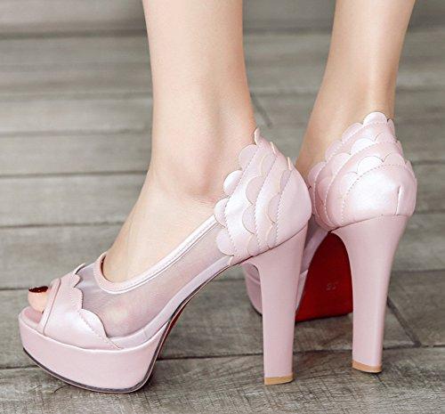 Rose Transparent Ouvert Bout Belle Femme Plateforme Aisun Mesh Sandales Rq87tX