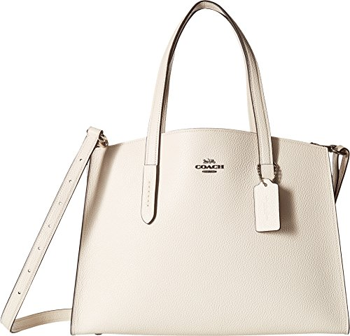 (COACH Women's Polished Pebble Leather Charlie Carryall Sv/Chalk One Size )