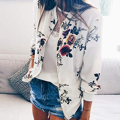 HHei_K Womens Casual Floral Print Long Sleeve Sweatshirt Jacket Pockets Zip up Cardigan Coat by HHei_K (Image #4)