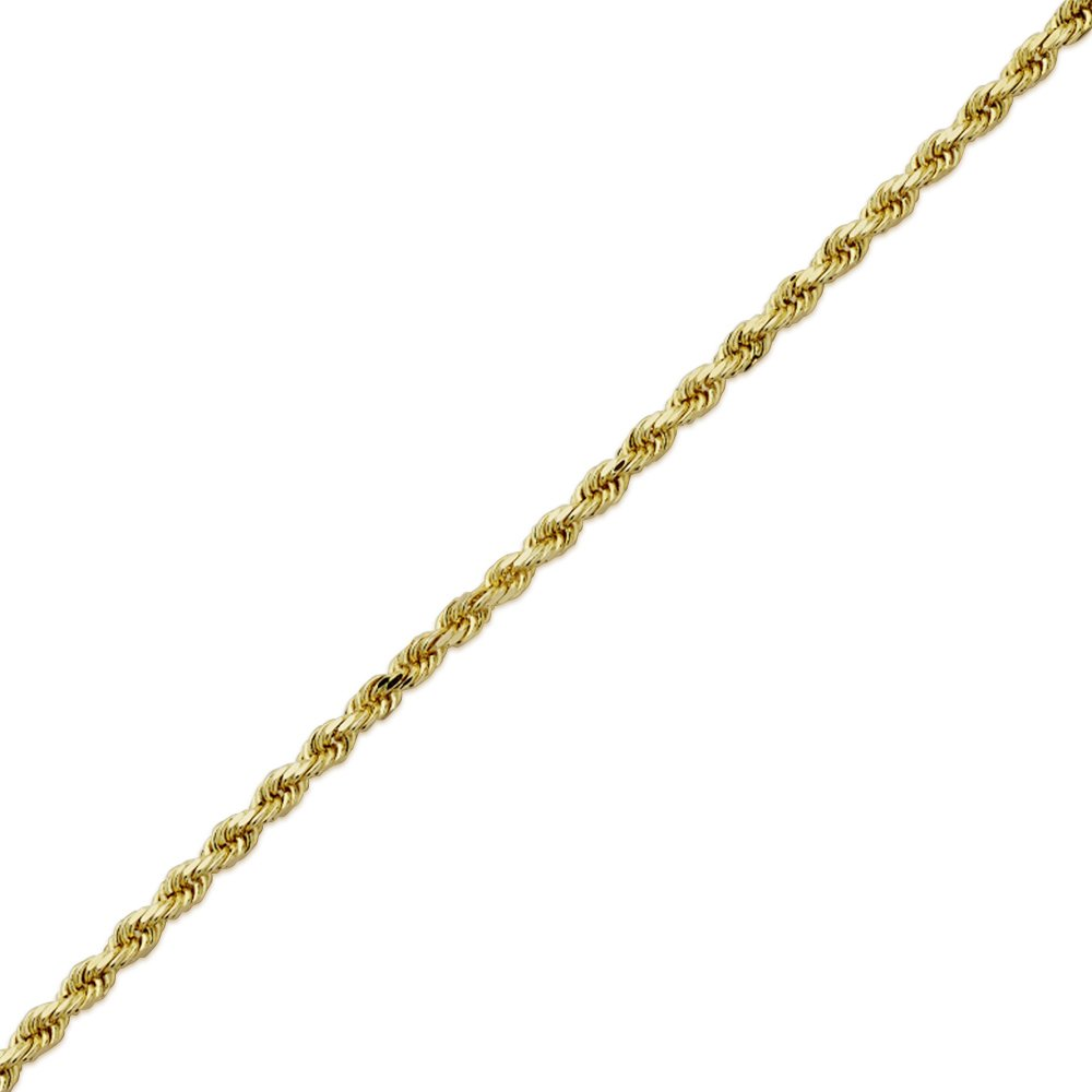 MR. BLING 10K Yellow Gold 3mm 9'' Solid Diamond Cut Rope Chain Bracelet with Lobster Lock