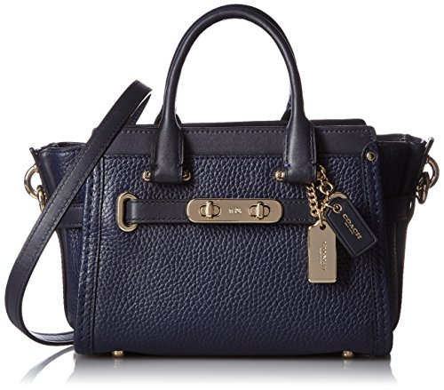 COACH Pebbled Leather Coach Swagger 20 LI/Navy One Size