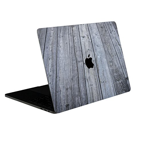 SOJITEK Aged Gray Wood Texture 4-in-1, Full-Size 360° Protector Skin Decals Sticker MacBook Pro 13 Inch (2016 to 2019 Model, with & w/o Touch Bar & ID) A1706 A1708 A1989 Black Keyboard Cover