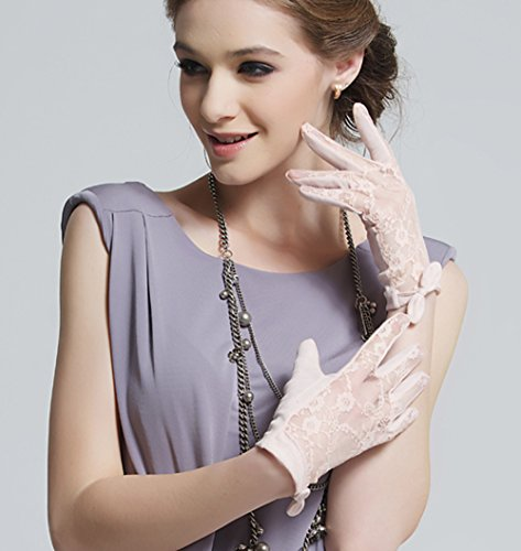 Womne's Bridal Wedding Lace Gloves Derby Tea Party Gloves Victorian Gothic for Lady (ONESIZE, Pink (no packag box)) by LAI MENG FIVE CATS (Image #2)