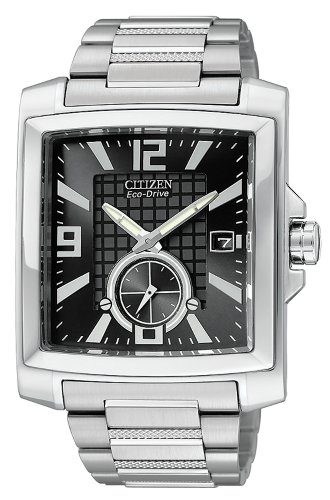 Citizen Men's BV1040-55E Eco-Drive Stainless Steel Rectangular Black Dial Watch (Watch 55e)