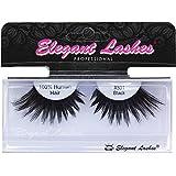 Elegant Lashes #301 Thick Long Black Human Hair False Eyelashes for Drag Queen Halloween Dance Rave Costume