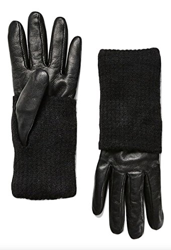 Women's Leather with Knit Gloves, Black, X-Small/Small ()