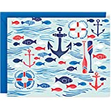 PAPER SOURCE DELUXE BOXED STATIONERY//ANCHORS & WAVES NAUTICAL NOTE CARDS//SET OF 10 [beach,summer.ocean.sea.boat,party,invite,thank you]