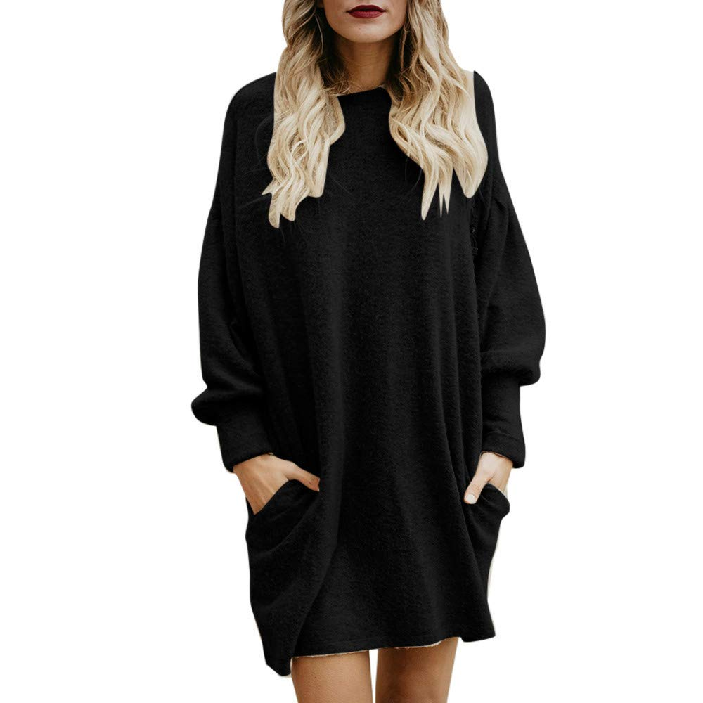 Nevera Women Tunic Top Solid Long Sweater Casual Loose Pullover Dresses with Pocket Black