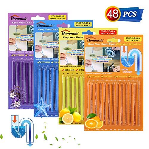 Drain Sticks Drain Stix Drainstix Sink Sticks Drain Cleaner & Deodorizer Sticks for Clogs Odor Unclogs Kitchen Bathroom Sinks Pipes Septic Tank Safe(4 Color 48PCS)