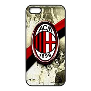 Special Design Case iPhone 5, 5S Black Cell Phone Case Ghtck AC Milan Durable Rubber Cover