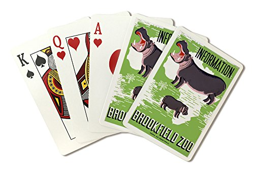 Brookfield, Illinois - Brookfield Zoo Poster - Hippopotamus - Vintage Advertisement (Playing Card Deck - 52 Card Poker Size with Jokers) -