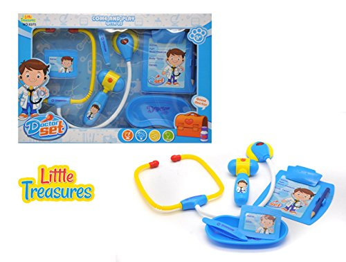 Practitioner Kit (Little Treasures Doctor set is - educational game for boys and girls of age 3+ toy set for the young practitioner with electronic stethoscope a medical report board doc's ID card and reflex hammer)