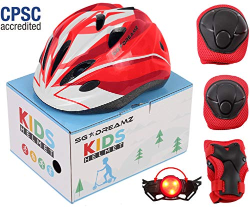 SG Dreamz Kids Helmet with Protective Gear - Adjustable from Toddler to Youth Size Ages 3 to 7 - Nice Package Perfect for Gift - Multi-Sports w LED Safety Light - CSPC Certified (H12+LED+BoxPG+Red)