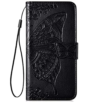 IKASEFU Compatible with iPhone 11 Case Emboss butterfly Floral Pu Leather Wallet Strap Card Slots Shockproof Magnetic Stand Feature Folio Flip Book Cover Protective Case-Black: Musical Instruments