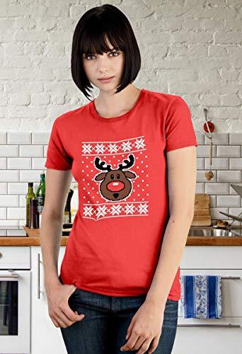 Nero Slim Natale Maglione Sweater Rudolph Fit Donna Da Di Maglietta Renna Ugly RPwFAq