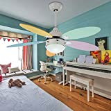 Tropicalfan Kids Ceiling Fan with 1 Glass Light Cover For Children's Room Study Modern Simple Electric Fan Chandeliers 5 Colorful Wood Reversible Blades 42 Inch