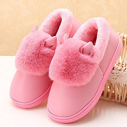 LaxBa Femmes Hommes chauds d'hiver Chaussons peluche antiglisse intérieur Cotton-Padded Chaussures Slipper44/45 rose profond (recommandé 43/44 l'usure)