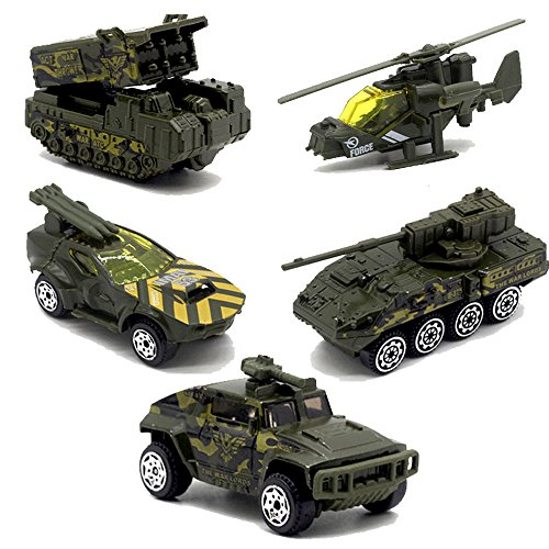 JQGT 5pcs Assorted Army Toy Cars Diecast Model Cars Mini Alloy Military Battle Vehicles Tank Toy Playset for Kids Toddlers Boys