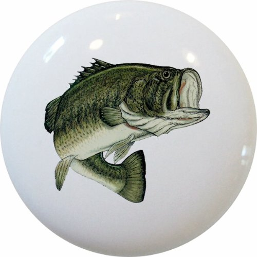 Carolina Hardware and Decor 1863 Largemouth Bass Fish Ceramic Cabinet Drawer Knob