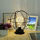 Chezaa Table Desk Lamp - LED Globe Metal Accent Light Battery-Operated Lamp Modern Bedside Lamp Nightstand Lamp for Bedroom Living Room Office, LED Bulb Included, Ship from USA (A)