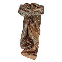 Mulberry Silk Traditional Square Scarf Karna Copper by Pashmina & Silk