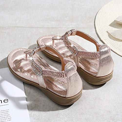 - Clearance!Women Large Size Flat Sandals, lkoezi Lady Foreign Trade Bohemian T-type Rhinestone Clip Toe Sandals T-Strap Flip Flop