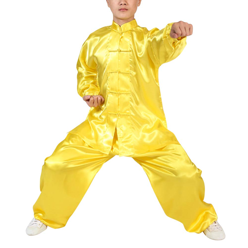 uirend Martial Arts Unisex Adult Kids Sets Performances Kung Fu Tai Chi Clothes Yellow by uirend