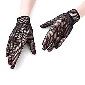SGJFZD 3 Pair Fishnet Gloves 80's Custome Accessories for Women Bridal Wedding Gloves Party Fancy Costumes Sexy Gloves (Color : Black)