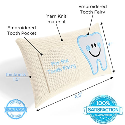 CHERISHED KID Tooth Fairy Pillow Kit for Boys with Pouch and Letter Note – Keepsake Box Makes it a Great Gift Idea for Kids by E-Com Highway (Image #2)