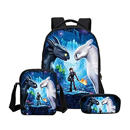 90a823ef577 Amazon.com: Panamat School Bags - Film How to Train Your Dragon 3D Print  Backpacks Pencil Bag 3Pcs/Set Portfolio School Bags for Boys Girls Bagpack  2018 1 ...
