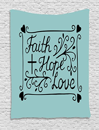 Ambesonne Hope Tapestry, Hand Lettering Spiritual Faith Hope Love Quote with Floral Arrangement Hearts, Wall Hanging for Bedroom Living Room Dorm, 60 W X 80 L Inches, Pale Blue and Black by Ambesonne
