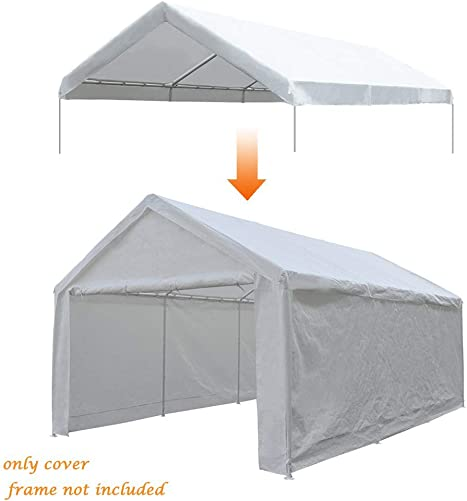Abba Patio 12 x 20-Feet Carport Replacement Top Canopy Cover for Garage Shelter with Fabric Pole Skirts and Ball Bungees, White Frame Not Included
