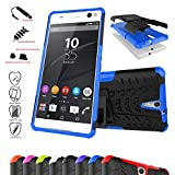 Sony Xperia C5 Ultra Case,Mama Mouth Shockproof Heavy Duty Combo Hybrid Rugged Dual Layer Grip Cover with Kickstand For Sony Xperia C5 Ultra E5506 E5533 (With 4 in 1 Free Gift Packaged),Blue