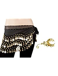 Bellylady Gold Coins Belly Dance Hip Scarf, Wholesale Dance Belt & Gypsy Bracelet