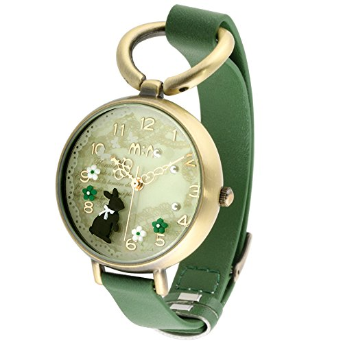 Bowknot Rabbit Girl's Women's Wrist Watches,Handmade Cute Polymer Clay Students Wristwatches Fq068 Forest Green Leather Strap
