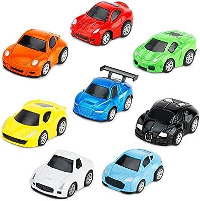 Tire Hacia Atrás el Metálico Coches de Juguetes Miniature Vehiculos Camion Modelos para Niños y Niñas, Pack de 8 vehículos: Amazon.es: Juguetes y juegos