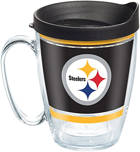 Tervis 1257491 NFL Pittsburgh Steelers Legend Tumbler with Wrap and Black Lid 16oz Mug, Clear ()